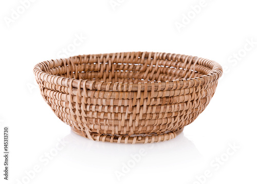 Fotografie, Obraz  vintage weave wicker basket isolated on white background