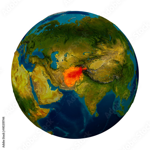 Afghanistan Highlighted On Globe Buy This Stock Illustration And