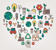 Ecology and environment concept. Heart shape ecology icons. Hand drawn illustration. Vector