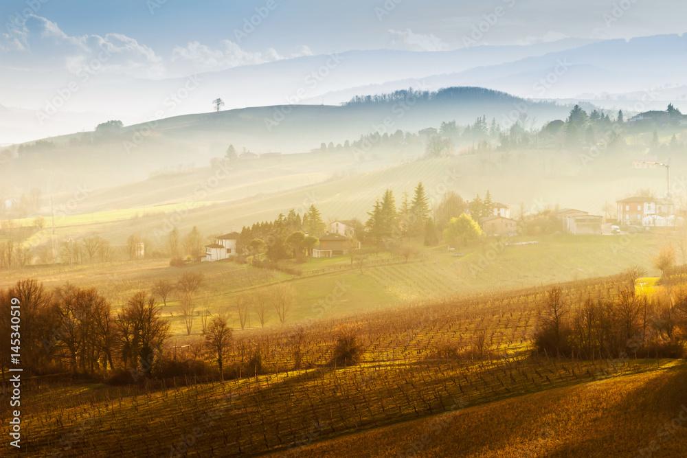 Fototapety, obrazy: Scenic nature and hills at sunset, Emilia-Romagna region, Italy.