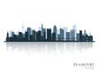 Frankfurt skyline silhouette with reflection.