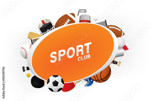 Valokuva Vector sport club with sports ball and equipment.