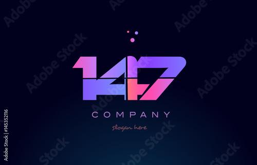 Fotografía  147 pink magenta purple number digit numeral logo icon vector