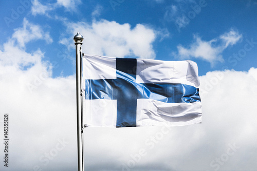 Flag of Finland / Finnish flag waving Fototapeta