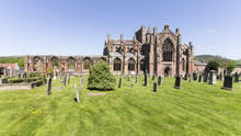 Melrose Abbey Ruins In The Sco...