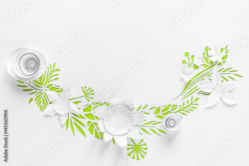 Poster Fleur Semicircle frame with white paper flowers