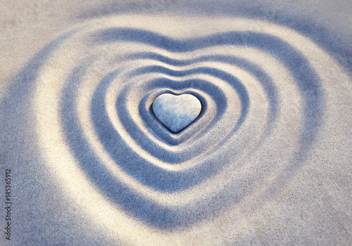 Acrylic Prints Stones in Sand Steinherz in Wellen aus Sand