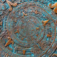 Bronze Ancient Antique Classical Spiral Aztec Ornament Pattern Decoration Design Background. Abstract Texture Fractal Spiral Background. Mexican Aztec Calendar. Droste Effect Abstract Fractal