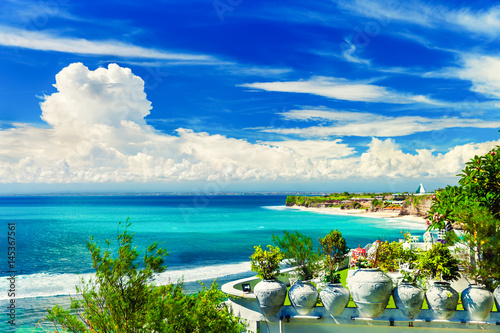 Amazing top view from mountain at Bingin Beach to popular tourist Dreamland beac Wallpaper Mural