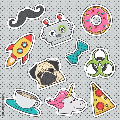 Foto op Aluminium Retro sign Fun trendy vintage sticker fashion badges