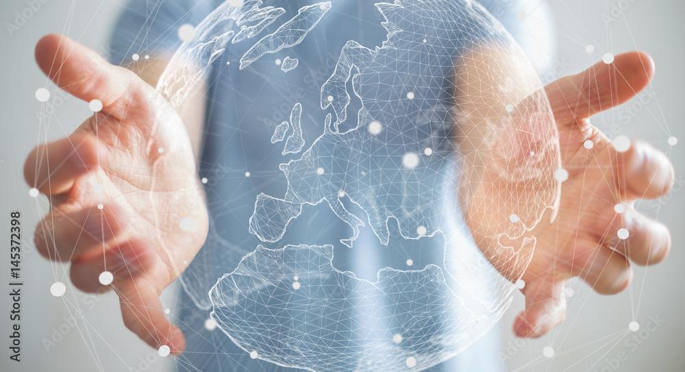 Fototapety, obrazy: Businessman holding global network on planet earth 3D rendering