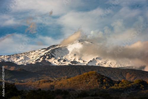 Deurstickers Vulkaan Panorama etna wulkan