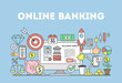 Online banking illustration concept. Signs and icons on blue background.