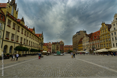 Fototapeta WROCLAW POLAND - JUNE 26:  People at old town on 26th June 2016 in Wroclaw, Poland. obraz na płótnie
