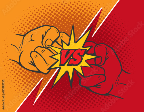 Fotografía Versus rivalry fist vector background