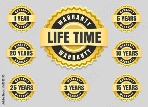 Fotomural  Service lifetime and years warranty labels and guarantee seals vector icons set