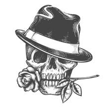 Skull In Hat With Rose Flower ...