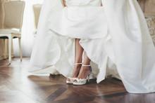 Wedding Bride Shoes. Beautiful Legs