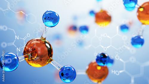 Tablou Canvas 3d illustration of molecule model