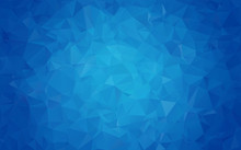 Geometric Rumpled Triangular Low Poly Origami Style Gradient Illustration Graphic Background. Vector Polygonal Design For Your Business. Blue, White Color