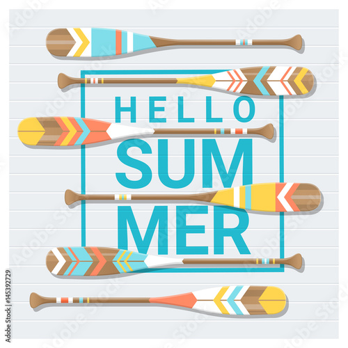 Stampa su Tela Hello summer background with painted canoe paddle , vector , illustration