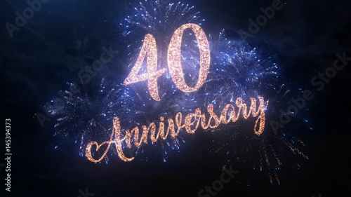 Happy birthday Anniversary 40 years celebration greeting text with particles and sparks on black night sky with colored fireworks on background, beautiful typography magic design Canvas Print