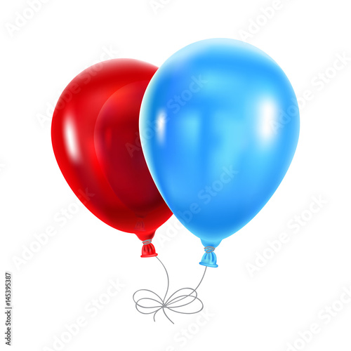 Red and blue balloons on a white background