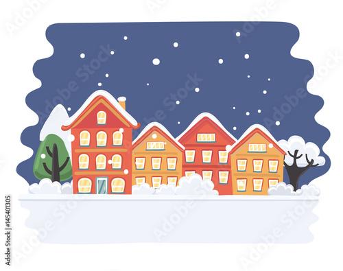 Fantastic Christmas Town Illustration Winter Landscape Greeting Card Interior Design Ideas Skatsoteloinfo