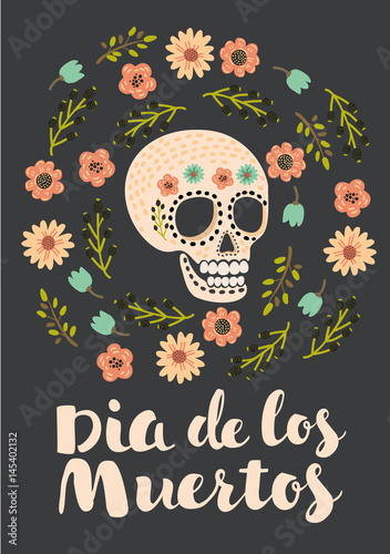 Printed kitchen splashbacks print - mexican sugar skull, day of the dead poster