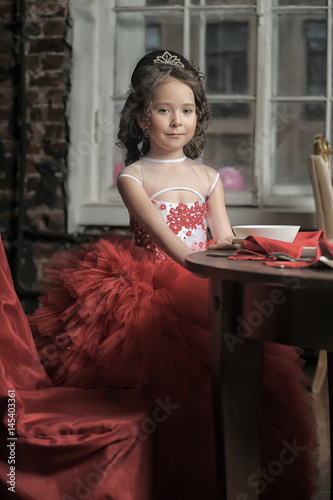 Fotografija  Little girl in red princess dress
