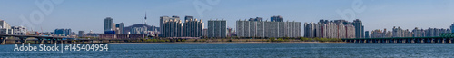 Panorama of a portion of the skyline of Seoul, South Korea with the Han River