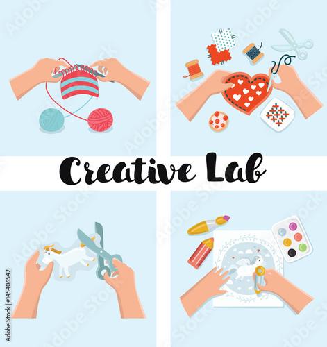 Kids Art Working Process Kids Creativity Vector Illustration Top