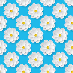 FototapetaSeamless pattern with paper flowers.