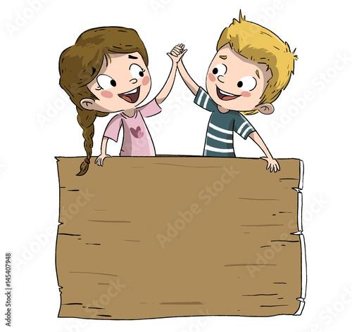 Niños campeones dandose la mano, : comprar esta ilustración de ...