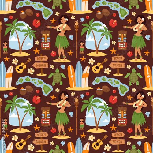 Wektorowy rocznika set hawajczyk ikony, symbole i dziewczyny ilustracyjny bezszwowy pattetrn