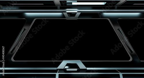 Photo sur Toile UFO Spaceship black corridor 3D rendering