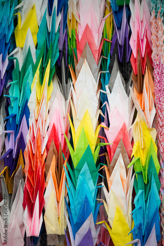 Recess Fitting Bird-of-Paradise Colourful Paper Cranes, Kyoto, Japan.