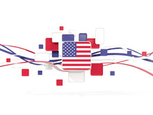 Flag Of United States Of America, Mosaic Background With Lines