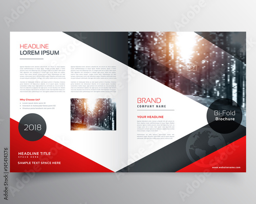 Creative Red And Black Bifold Brochure Or Magazine Cover