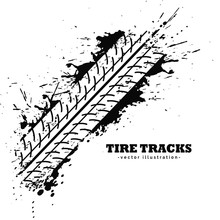 Tire Track Impression On White...