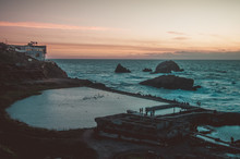View Of Sutro Baths At Dusk