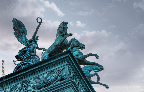 Poster Artistique Three horse chariot on top of Prague National Theater
