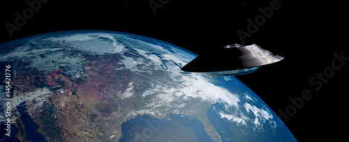 Photo  Extremely detailed and realistic 3d image of an ufo / flying saucer orbiting Earth