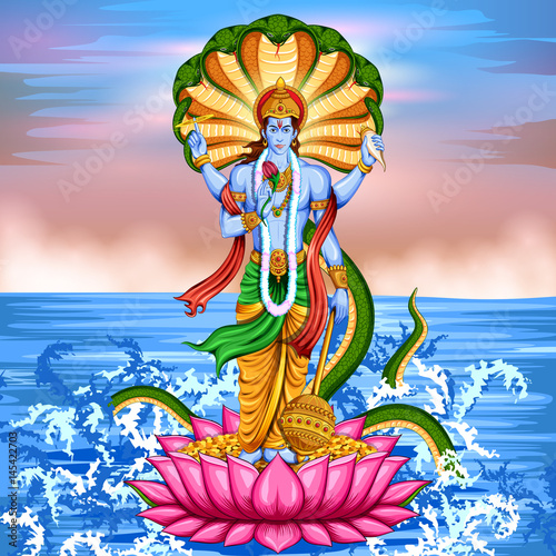 Lord Vishnu standing on lotus giving blessing Tablou Canvas