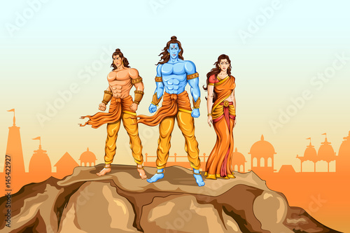 Lord Rama, Sita and Laxmana in Dussehra poster Canvas Print