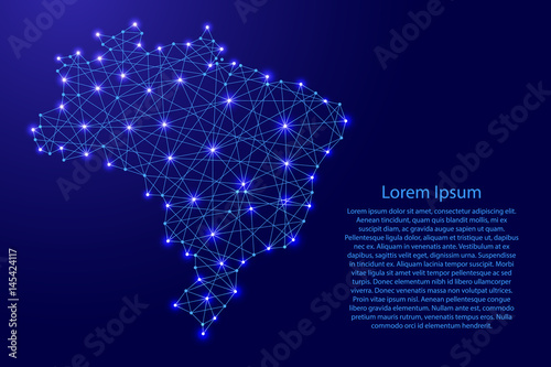 Foto  Map of Brazil from polygonal blue lines and glowing stars vector illustration