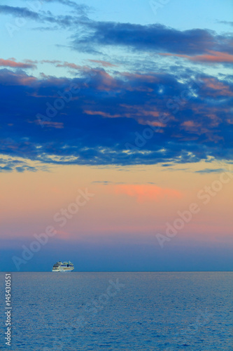 Beautiful seascape with vessel and sunset Canvas Print