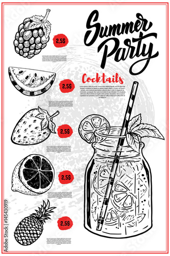 Summer Cocktails Menu Cover Layout Menu Chalkboard With