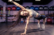 Fitness girl dancing zumba workout in gym. Weight loss activity exercises