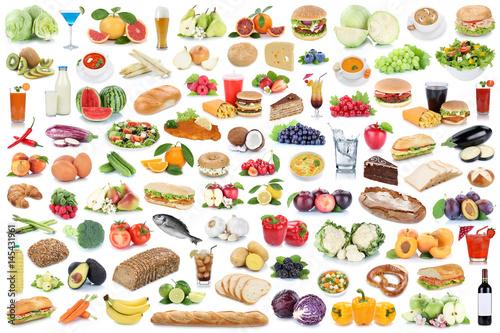 Foto op Plexiglas Kruidenierswinkel Sammlung Collage Essen gesunde Ernährung Obst und Gemüse Früchte Lebensmittel Freisteller